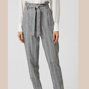 Le Chateau Plaid Check Print Paper Bag Pants